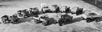 Unimog product range in the late 1960s with the model series: 403, 404.1, 406, 411, 416, 421