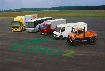 Mercedes-Benz Euro 2 product range, from left: 1838 S tractor unit, touring coach, 817 platform vehicle, 714 D panel van and U 1600 Unimog 427 series 1994