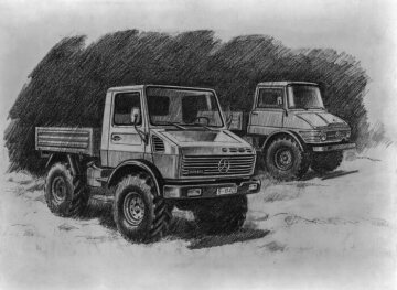 Design sketch of the U120, model series 425, in the background the Unimog, model series 406 for comparison
