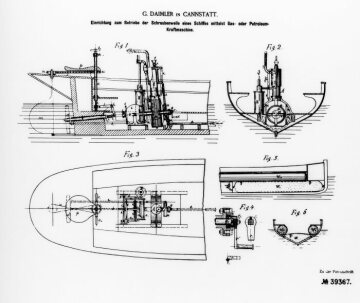 "Drawing for Daimler patent ""Device for operating a screw-shaft of a ship by means of a gas or petroleum engine"". Illustration from German patent no. 39367 of October 9, 1986"