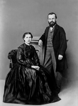"Gottlieb Daimler and his first wife Emma (her maiden name was ""Kurtz"").  The photograph was taken by the year 1875."
