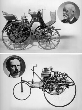 Gottlieb Daimler and his motor carriage (at the top), and Carl Benz and the patent motor car, 1886.