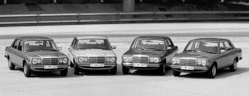 "In January 1976, the large diversity of the new mid-range generation (W 123) is a big highlight for customers who are willing to wait up to one year for their car due to the great demand prevailing at the beginning. This is the reason why its predecessor is still produced at the same time, until December 1976. In the first year already, the 200, 230, 250, 280 and 280 E as well as the 200 D, 240 D and 300 D models are available. In addition to the saloon car, a coupé, a saloon with a long wheelbase and the first ex-factory T model estate car are available as of 1977. The five-door model is launched in September 1977. The T stands for ""Tourism and Transport"" and underlines the dual role of the upper mid-range vehicle designed for flexible use. The Mercedes-Benz T model presented in 1980 is the first passenger car in Germany equipped with a turbo diesel engine. At the same time, the 230 E, the first four-cylinder model by Mercedes-Benz with mechanical petrol injection has its debut. This series it the most succ"