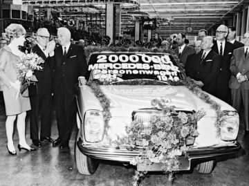 "The two millionth Mercedes-Benz passenger car came off the production line in Daimler-Benz AG's Sindelfingen plant since production resumed in 1946. The milestone model - a ""new-generation"" Mercedes-Benz 220 D (115 series). 1968"
