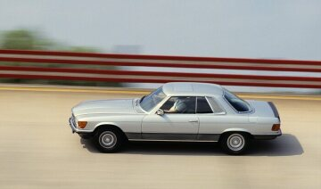 Mercedes-Benz 450 SLC 5.0 from the 107 series on the test track at the Untertürkheim plant.